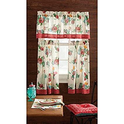 The Pioneer Woman Kitchen Curtain And Valance 3pc Set 30 X 36 Country Garden