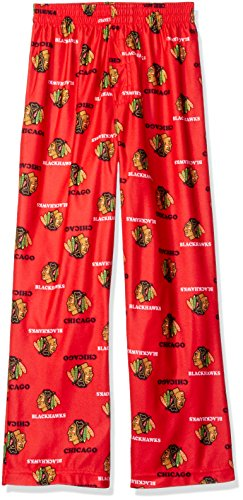 NHL Chicago Blackhawks Youth Boys 8-20 Sleepwear All Over Print Pants, Small (8), Red Nhl Team Logo Merchandise