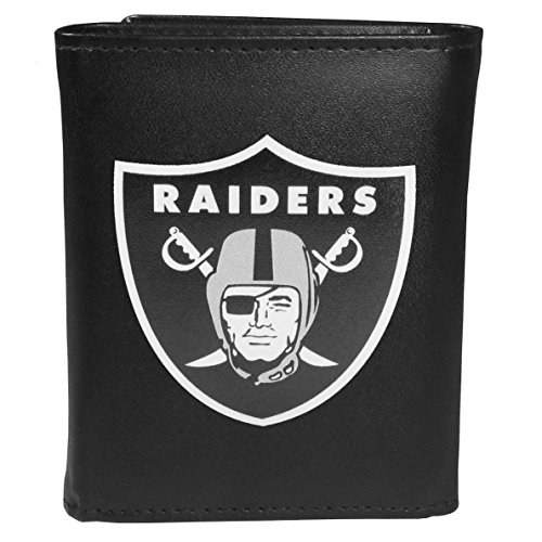 Siskiyou Sports NFL Oakland Raiders Tri-fold Wallet Large Logo, Black