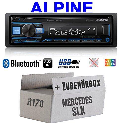 Autoradio Radio Alpine UTE-200BT Bluetooth USB MP3 1-DIN PKW KFZ 12V Einbauzubeh/ör Einbauset Mercedes SLK R170