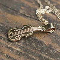 Concert Violin Pendant in Solid 14K Yellow Gold, Unisex Medallion, Handmade OOAK, Music, Orchestra, Mens Pendant, Ready to Ship