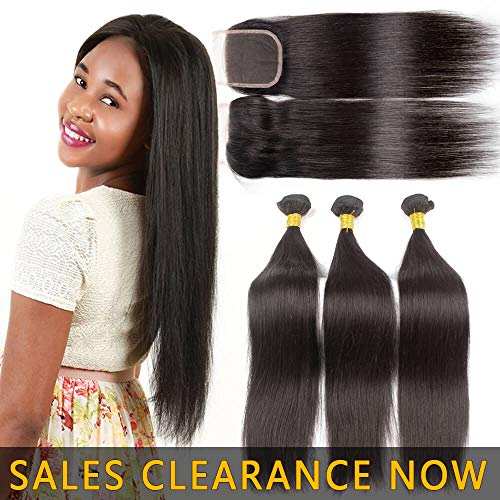 9A Human Hair 3 Bundles With 4x4 Lace Closure Free Part Best Brazilian Straight Virgin Hair Weave Indian Malaysian Remy Hair Extensions Deals Cheap Peruvian Natural Black Hair Weft 20 22 24 With 18