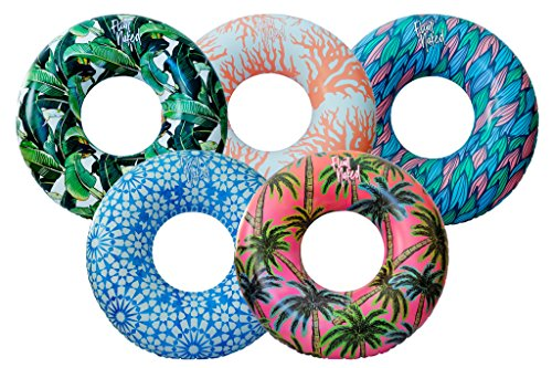 Luxury Pool Floats by FloatNaked - 5 Piece Complete Summer Package - Giant Oversized Inflatable Tubes with International Inspired Design - Easy Inflate Travel Packaging