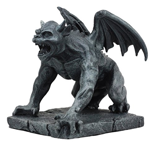 Ebros Winged Demonic Bull Gargoyle Statue Gothic Night Crawler Sentry Stone Devil Creature Decorative Figurine 5.25