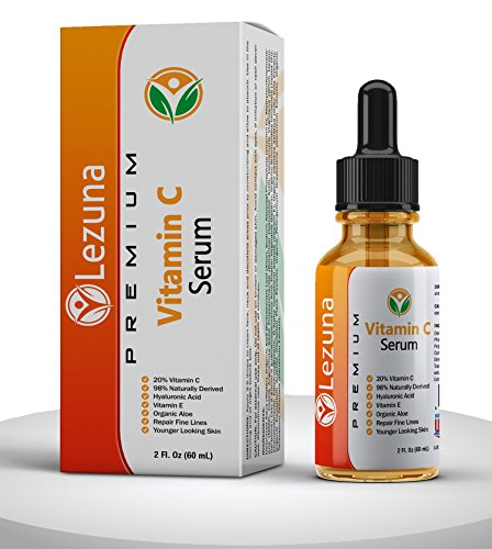 Lezuna Vitamin C Serum, Larger 2 Oz Size With Hyaluronic Acid, Organic Aloe, Jojoba Oil, Vitamin E, Reduce Fine Lines, Anti-Aging, Hydrates & Tones, Dark Spot Correction, Smoother Younger Looking Skin