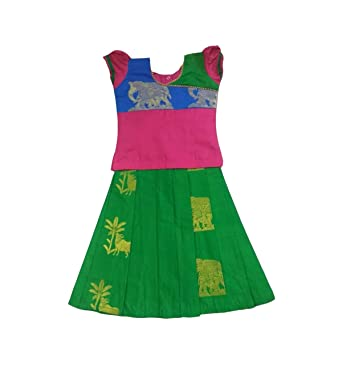 d965023b17b7b Pattu Pavadai Traditional Pure Silk Pavada Set Green and Pink for Baby  Girls and Kids: Amazon.in: Clothing & Accessories
