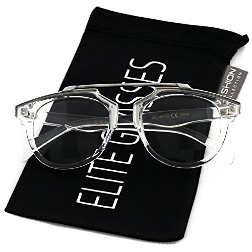 Elite Glasses Retro Pantos Frame Wayfarer Sunglasses Metal Crossbar Round Aviator (Clear Silver, 1.8) (Silver Cross Wayfarer)