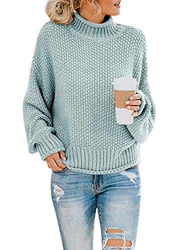 Ashuai Womens Turtleneck Sweaters Baggy Chunky Batwing Long Sleeve Pullover Oversized Knitted Jumper Top Green ()