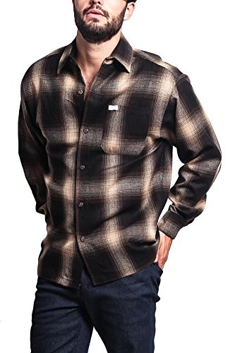 (G-Style USA Western Casual Plaid Long Sleeve Button up Shirt Y2000 - Brown - 5X-Large)