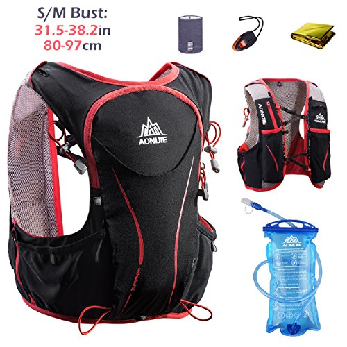 TRIWONDER Hydration Pack Backpack 5L Lightweight Deluxe Marathoner Running Race Hydration Vest (Black (S-M) – with 1.5L Water Bladder)