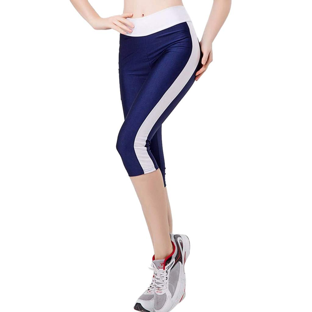 Women Fitness Clothes, Jump Suit Pants for Women,Women's High Waist Tummy Control Yoga Workout Capris Leggings Side Pockets Navy