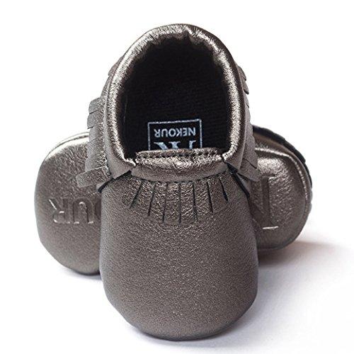 HAPPY CHERRY Suaves Zapatos Primeros Pasos Zapatitos sin Cordones Suela Antideslizante Mocasines para Bebés Niños Niñas 12-18 Meses Color Vino Tinto Plata Gris