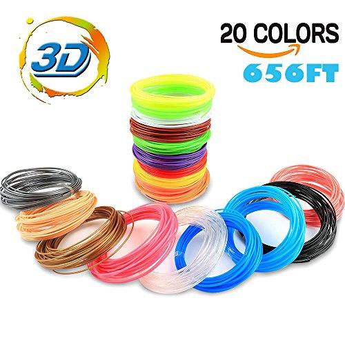 Airsspu 3D Printer Filament - 3D Pen Filament Refills(20 Colors including 6 Glow, 32.8 Feet Each) - PLA 1.75mm 3D Printing Pen Filament Total 656 Feet for mynt3d filament
