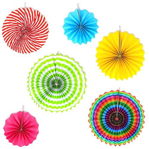Big Mo's Toys Paper Fans – Pink Green and Blue Mexican Fiesta Party Decorations Supplies Paper Fan Rosettes ()