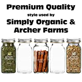 12 Deluxe Large Square Glass Spice Bottles 6 oz Spice Jars with Silver Metal Lids, Shaker Tops, and Labels by SpiceLuxe