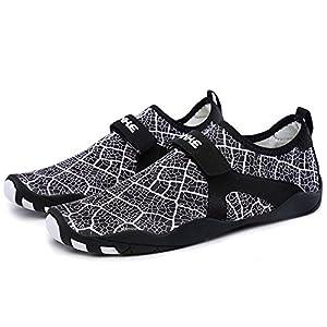 L-RUN Water Shoes For Women Aqua Socks Surf Pool Yoga Beach Swim Black XL(W:10-11,M:8-9)=EU 41-42