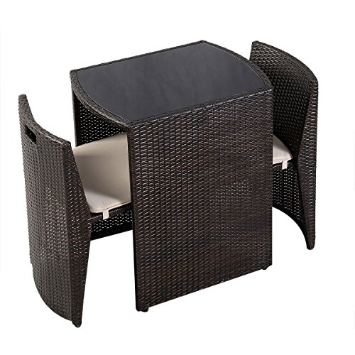 goplus 3 pcs cushioned outdoor wicker patio set seat brown garden lawn sofa furniture new home. Black Bedroom Furniture Sets. Home Design Ideas