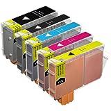 5x Cartouches d'encre Compatibles pour Imprimante Canon i865 - Cyan / Magenta / Jaune / Noir / Large Noir- Haute Capacité