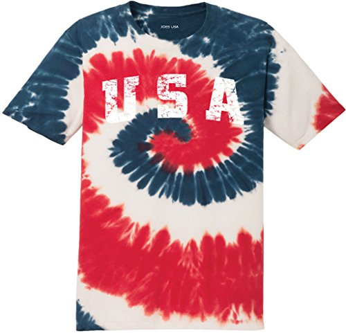 Joe's USA Tie Dye Logo Heavyweight Cotton T-Shirt-USASPiral/w-S