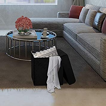 LINLUX Foldable Storage Ottoman Velvet Tufted Square Cube Foot Rest Stool Seat Black, 14.9 L x 14.9 W x 15.7 H