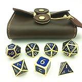 Momostar Solid Polyhedron Dice, Metallic Tweezers for DND RPG,Golden & Sapphire Blue Background
