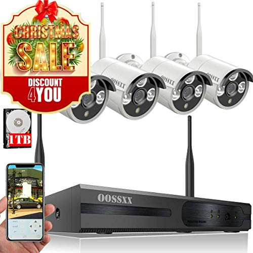 【2019 Update】 HD 1080P 8-Channel OOSSXX Wireless Security Camera System,4Pcs 960P(1.3 Megapixel) Wireless Indoor/Outdoor IR Bullet IP Cameras,P2P,App, HDMI Cord & 1TB HDD Pre-Install