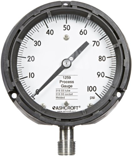 Ashcroft Type 1259 Fiberglass Reinforced Thermoplastic Solid Front Safety Case Dry Filled Process Pressure Gauge, Stainless Steel Tube and Socket, 4.5