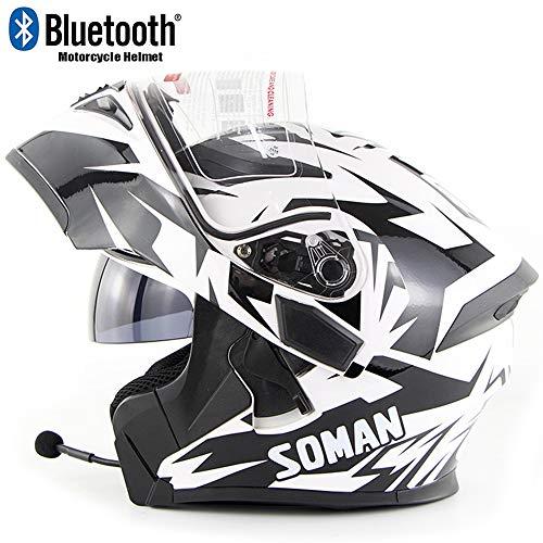 CAKUI Black and White Eagle Eye Motorcycle Bluetooth Helmet,Adult Four Seasons Universal Double Lens Front Flap Full Face Helmet,DOT/ECE Certified Motocross Helmet,XL:61~62cm