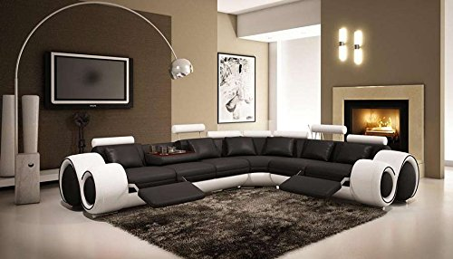 Living Room Set Contemporary - 4087 Black & White Bonded Leather Sectional Sofa With Built-in Footrests