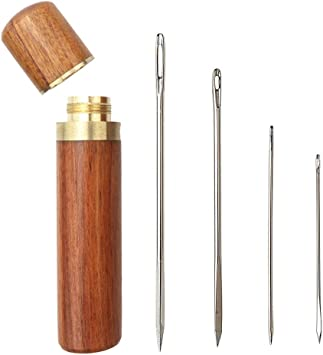 Sewing Supplies with Four Pieces Sharp Stitching Needles for Stitching//Sewing//Embroidery MIUSIE Convenient Needle Storage,Versatile Wooden  Needle Case with Smooth Touch