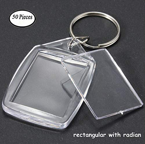 King&Pig 50pcs Key Chains Key Rings with Transparent Clear Picture Photo Frames can open Keychains (rectangle with radian)