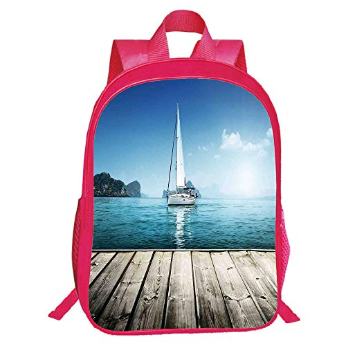 (Print Red Double-Deck Rucksack,Sailboat Nautical Decor,Yacht from Wooden Deck Horizon Serene Seascape Leisure Aquatic Coastal Theme,Blue Brown,for Kids,Pictures Print Design.15.7