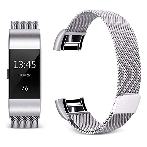 - Hotodeal Band Compatible Fitbit Charge 2 Bands, Band Milanese Loop Stainless Steel Magnet Metal Replacement Bracelet Strap, Wristbands Accessories for Women Men, Silver