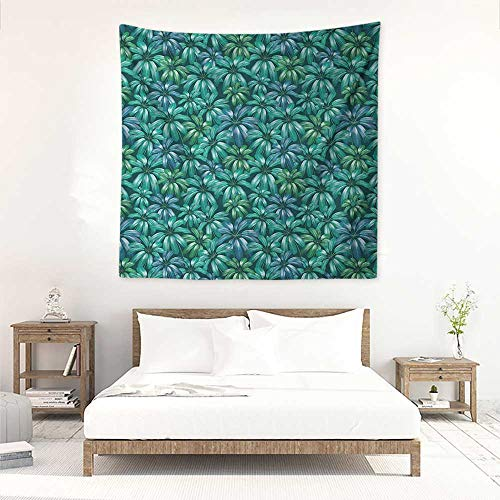 Floral Decorative Tapestry Gardening Theme Beauty Blooms Exotic Flower Field Plant Foliage Jungle Wall Hanging Carpet Throw 39W x 39L INCH Jade Green Petrol Blue ()