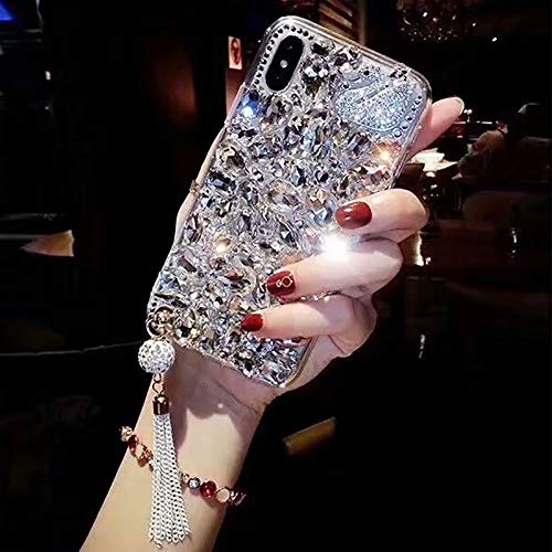 Bling Diamond Case for iPhone XS Max,Cistor Luxury 3D Handmade Full Crystal Rhinestone Sparkle Swan Design Tassel Pendant Protective Case Soft Frame Hard PC Back Cover for Apple iPhone XS ()