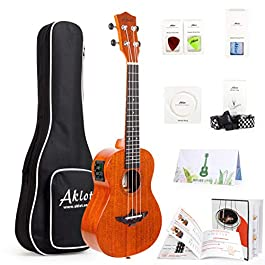 AKLOT 26 Inch Electric ukulele Electric Acoustic Tenor Ukulele Solid Mahogany Ukelele 26″ Beginners Starter Kit with Free Online Courses and Ukulele Accessories Electric 26