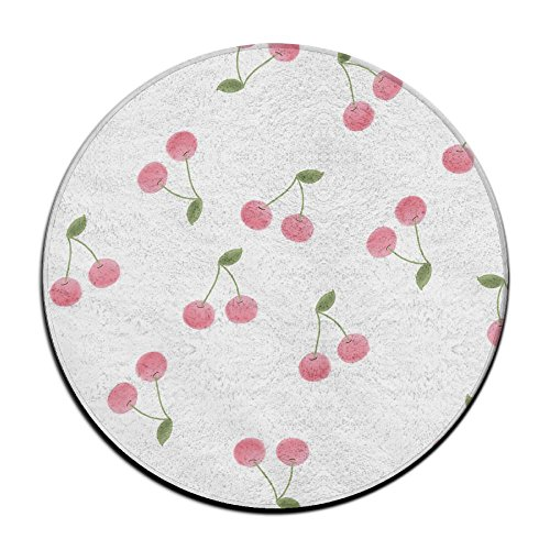 Laurel Non-Slip Round Rug Cerezas Pictuer Entrance Doormat Floor Pet Kids Mat Shoes Scraper Diameter 23.6 Inch ()