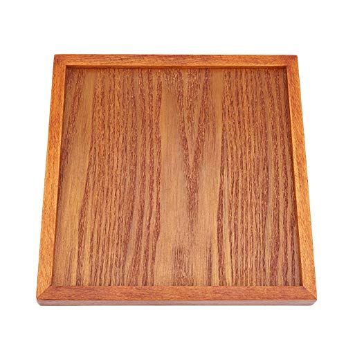 Square Solid Wood Tea Tray Wooden Plate Coffee Sushi Snacks Serving Plate for Cafe Restaurant(8.668.66in)