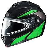 HJC IS-MAX2SN Elemental Modular Snow Helmet Frameless Dual Lens Shield (MC-4 Neon Green, X-Small)