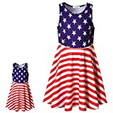 """Sleeveless Dress Matching Girls&Dolls 18"""" USA Flag Print 4th July Party Outfits"""