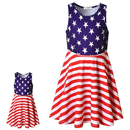 Perfashion America Flag Dress Matching Girls&Dolls Party Princess Sleeveless Summer Outfits ()