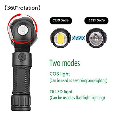 All New LED Work Light, LED flashlight, 10W Rechargeable Work Lights with Magnetic Base 360°Rotate and 7 Modes Bright LED Flashlight Inspection Light for Household and Emergency Use. (Free 1X18650)