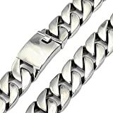 24mm Heavy Curb Cuban Chain Link Necklace Stainless Steel Jewelry,20''-38'' (38)