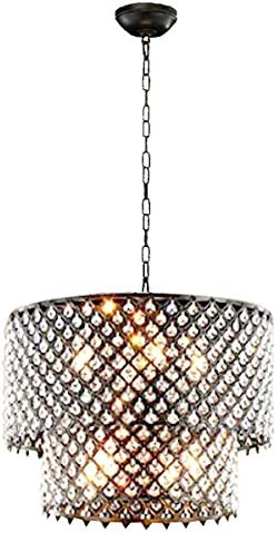 LightInTheBox Modern Two Tiers Chandeliers with 8 Lights Pendant Light with Crystal Drops in Round, Ceiling Light Fixture for Dining Room, Bedroom, Living Room
