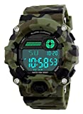Men's Camouflage LED Sport Watch,Waterproof Digital Electronic Casual Military Wrist Kids Sports Watch with Silicone Band Luminous Alarm Stopwatch Boys Watches