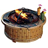 Sunjoy 36″ Covington Fire Pit with Slate Platform-Top Natural Color