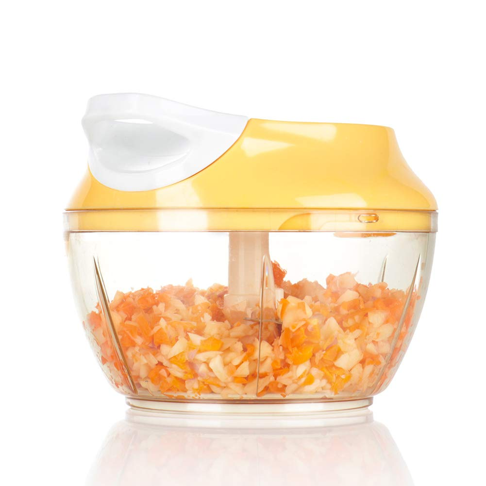 Ourokhome Portable Pull Onion Chopper - Manual Food Processor for Vegetables, Garlic, Nuts, Herbs for Pesto, Baby Food, Salsa (Yellow, 2 Cup)
