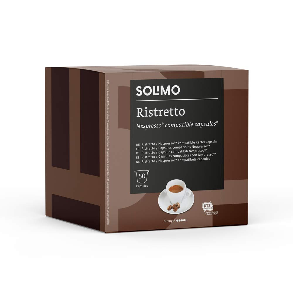 Amazon Brand - Solimo Nespresso Compatible Ristretto Capsules - UTZ Certified - 100 Capsules (2 Packs x 50)