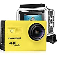 Action Camera for Sports Photography | UHD 4K/24fps, 1080P/60fps, IMX078 Sensor, 70-170 Wide Angle Lens, Waterproof up to 30m by ICONNTECHS IT (Yellow)