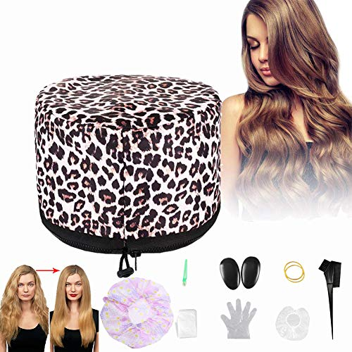 110V Hair Care Hat,Hair SPA Cap,Hair Care Steamer Cap,Thermal Hair Cap,Waterproof Home Hair Thermal Care Electric Hair Treatment Beauty Steamer Perfect for Family Personal Care (LeopardA)